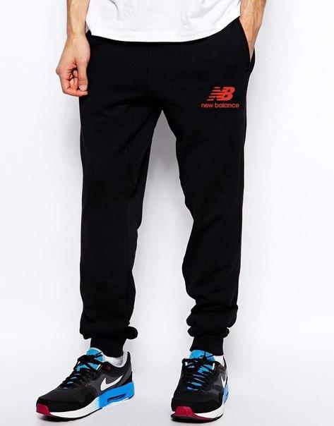 Купить Спортивные штаны Нью Беленс, штаны мужские New balance, черные, трикотажные, с манжетом