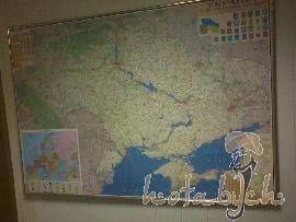 Купить Карта Украины настенная Гипсометрическая на капе в раме 272х184 см