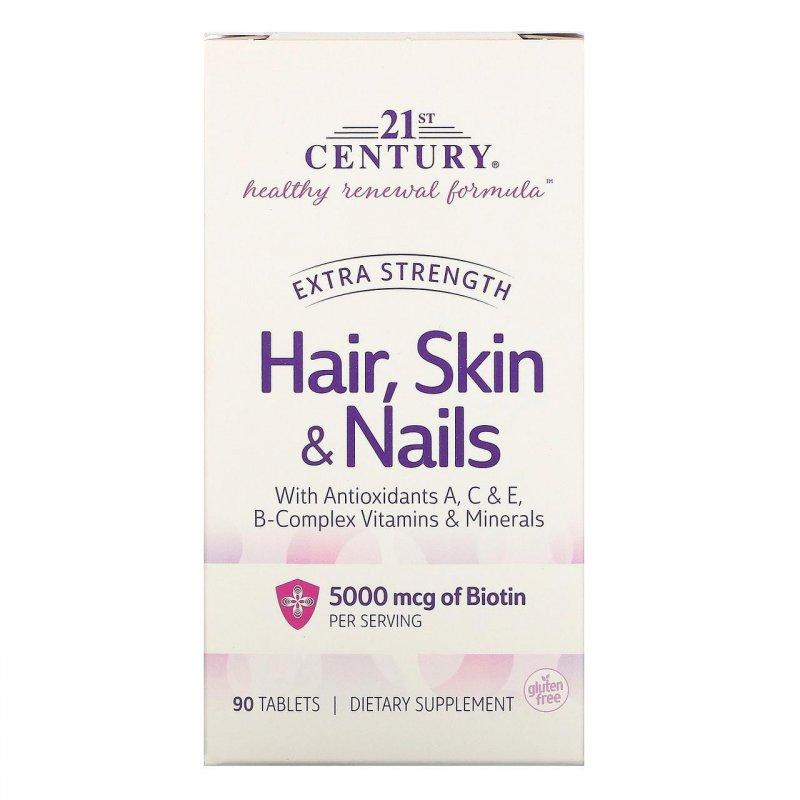 Купить 21st Century, Волосы, кожа и ногти, повышенная сила действия, 90 таблеток