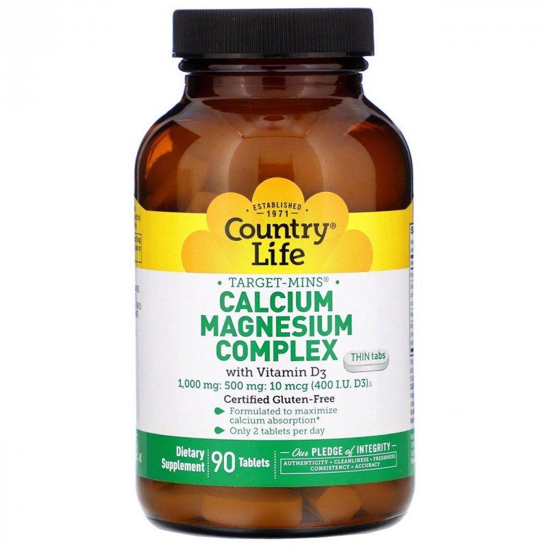 Купить Кальцие-магниевый комплекс Country Life, с витамином D3, 90 таблеток