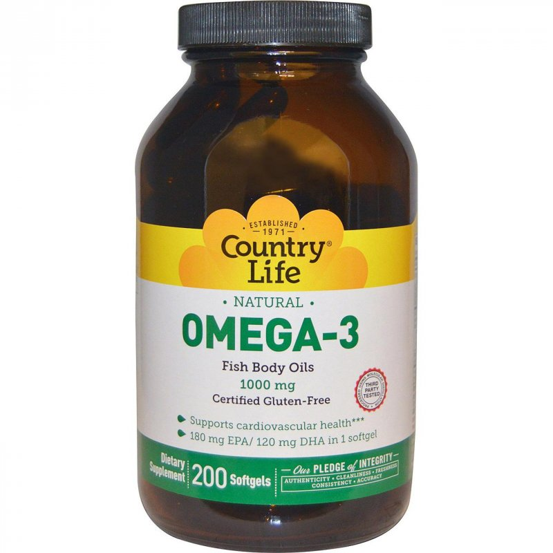 Купить Омега-3 Country Life, 1000 мг, 200 желатиновых капсул