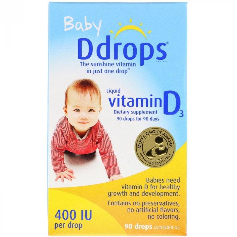 Купить Ddrops, Жидкий витамин D3 для детей, 400 МЕ, 0.08 ж. унций (2.5 мл), 90 капель
