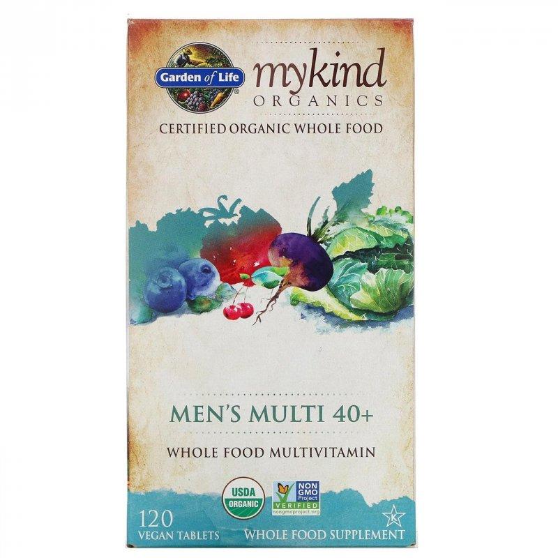 Купить Мужские витамины от 40 лет Garden of Life, KIND Organics, Men's Multi 40+, 120 табл