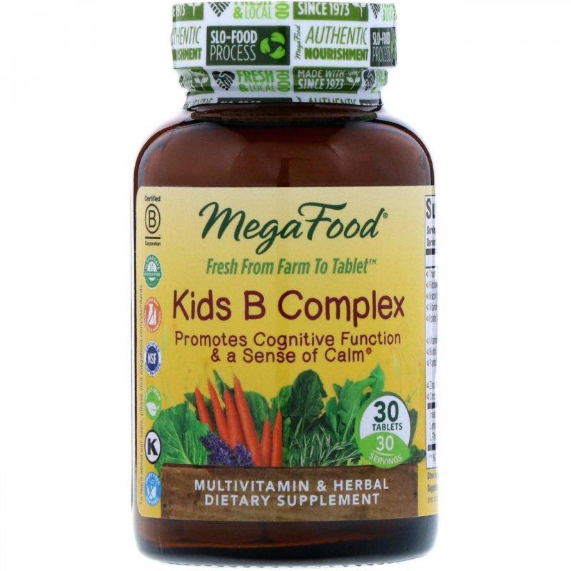 Купить MegaFood, B комплекс для детей, 30 таблеток