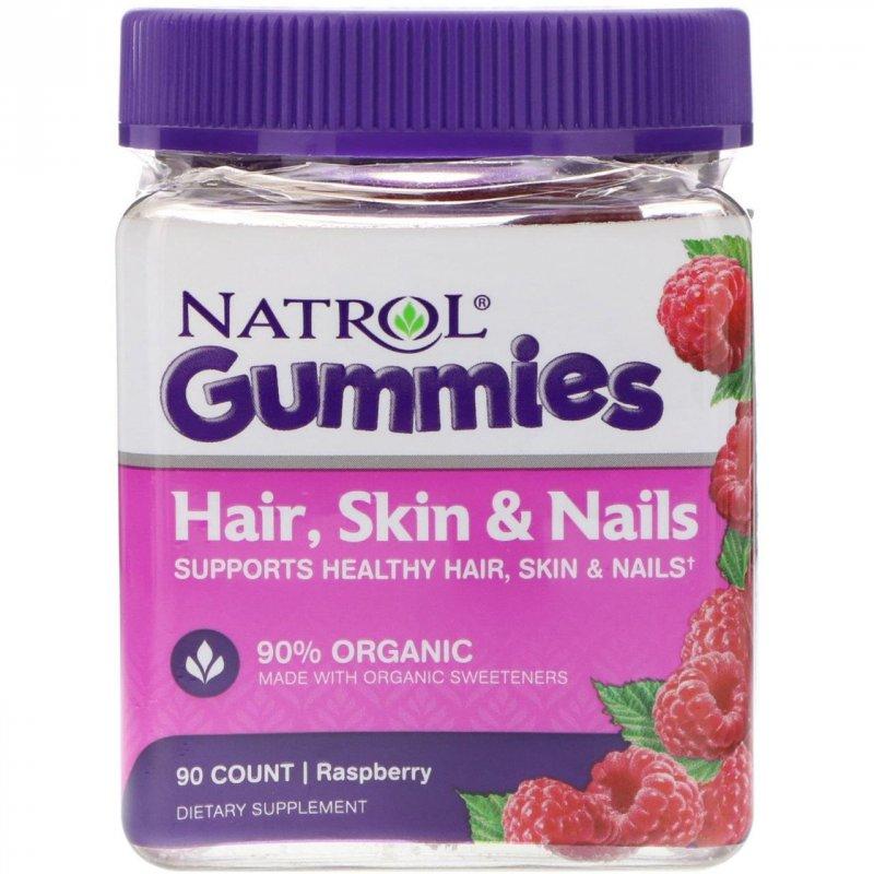 Купить Natrol, Жевательные таблетки, Для волос, кожи и ногтей, Малина, 90 штук