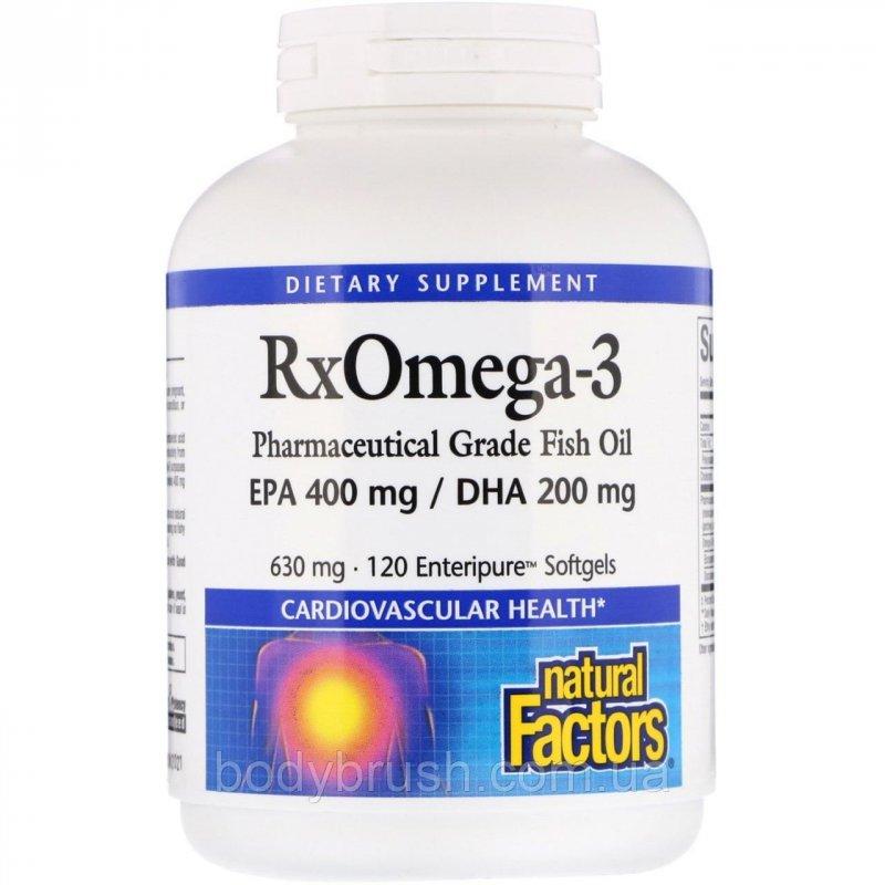 Купить Rx Омега-3 Natural Factors, 630 мг, 120 капсул