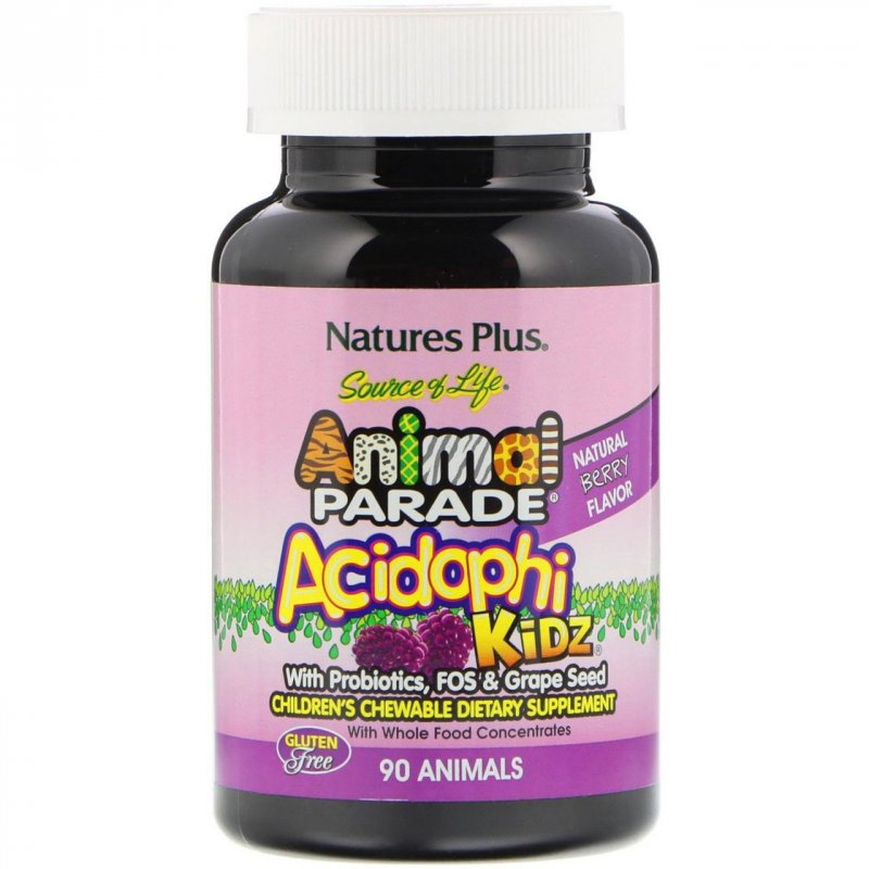 Купить Nature's Plus, Source of Life Animal Parade, AcidophiKidz, Children's Chewable, Natural Berry, 90