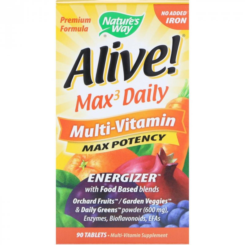 Купить Nature's Way, Alive! Max3 Daily, Multi-Vitamin, No Added Iron, 90 Tablets