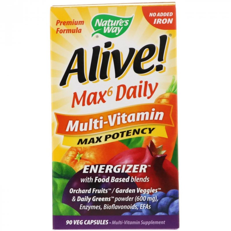 Купить Nature's Way, Живой! Max6 Daily, мультивитаминный комплекс, без добавления железа, 90 вегакапсул