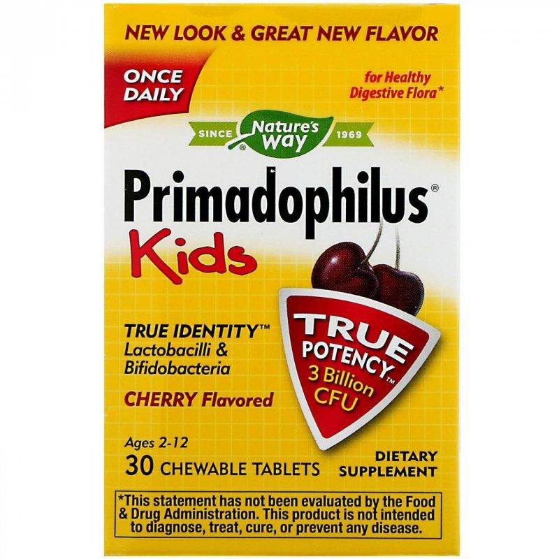 Купить Nature's Way, Примадофилус, для детей, вишня, 30 жевательных таблеток