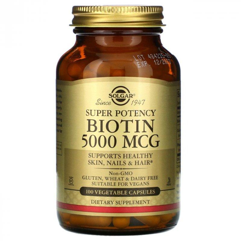 Купить Биотин для волос и кожи Solgar, 5000 мкг, 100 вегетарианских капсул