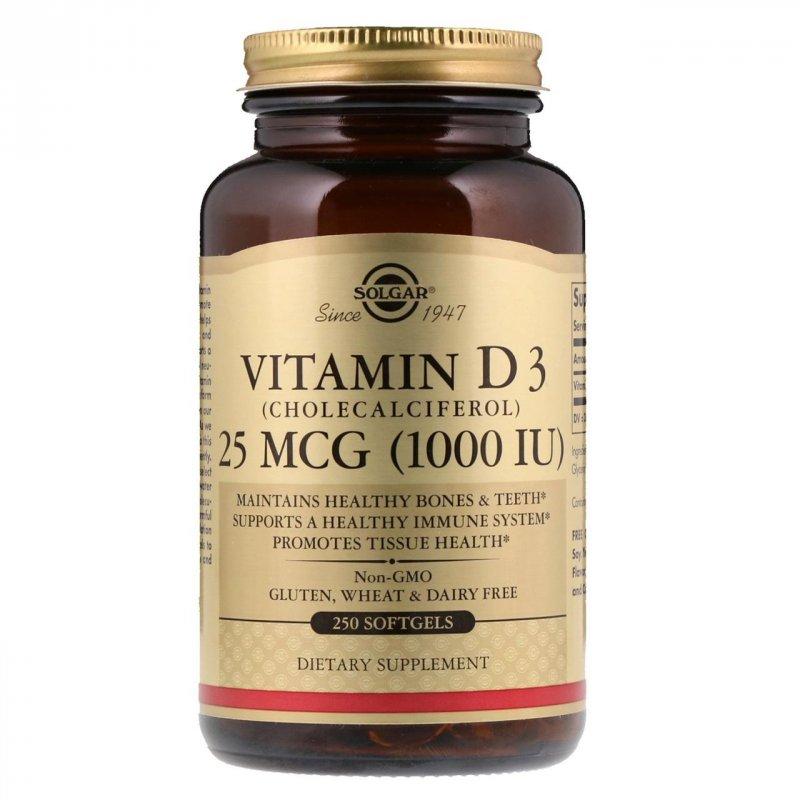 Купить Витамин D3 (холекальциферол) Solgar, 1000 МЕ, 250 мягких таблеток