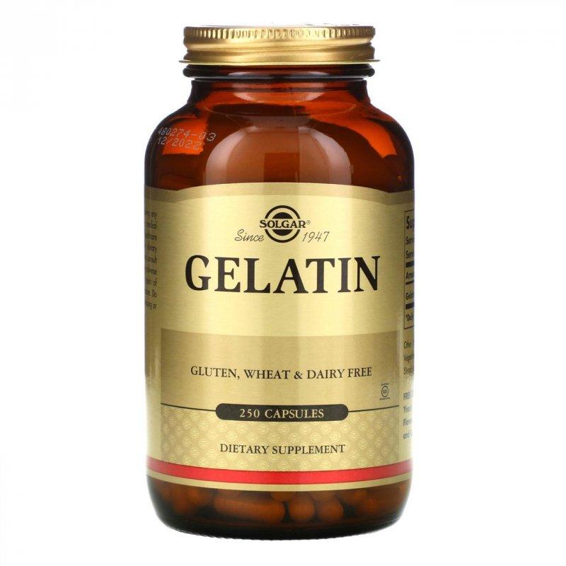 Купить Solgar, Натуральный желатин с карбонатом кальция, 250 капсул