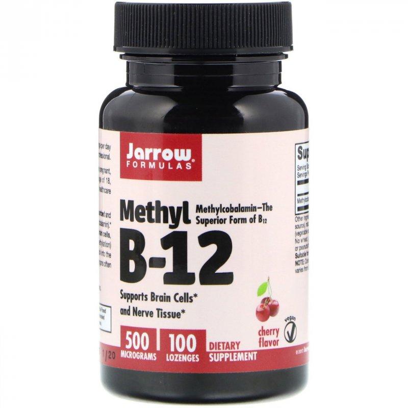 Купить Метилкобаламин витамин B12, Jarrow Formulas, со вкусом вишни, 500 мкг, 100 шт