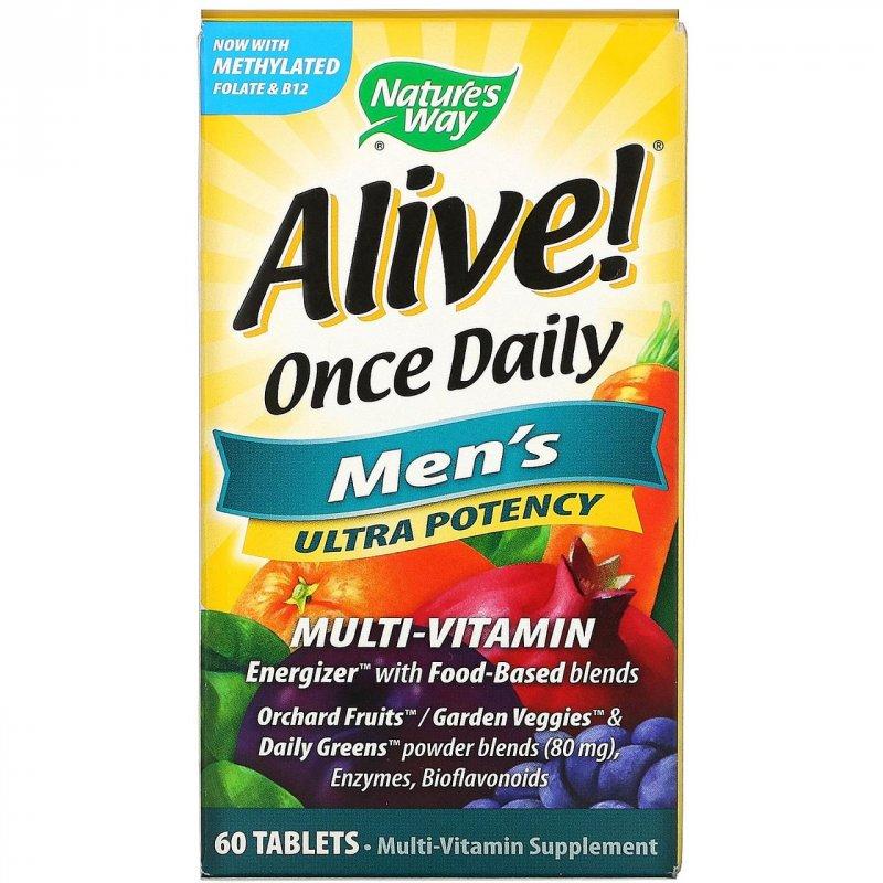 Купить Мультивитамины для мужчин Nature's Way, Alive! Раз в день, 60 таблеток