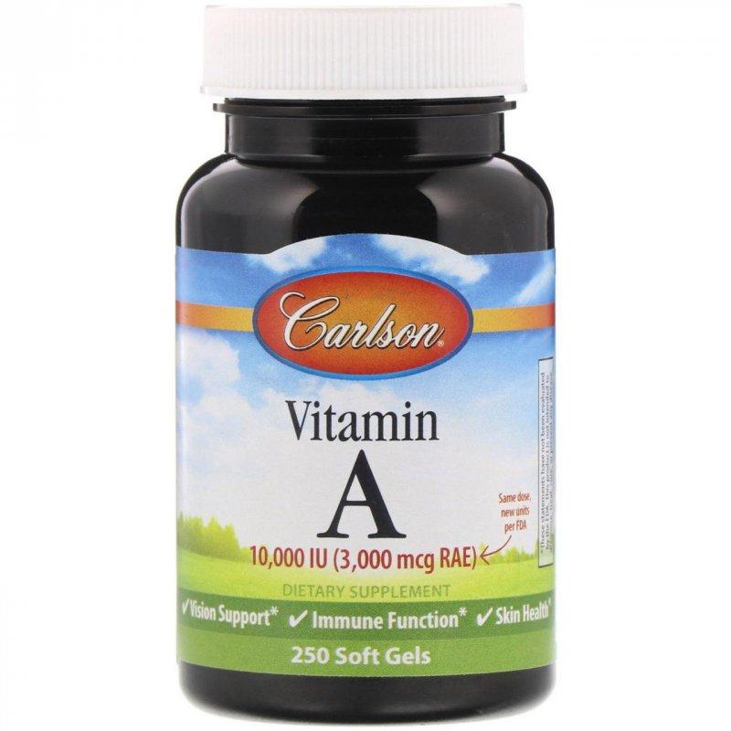 Купить Натуральный витамин A 10,000 МЕ Carlson Labs, 250 гелевых капсул