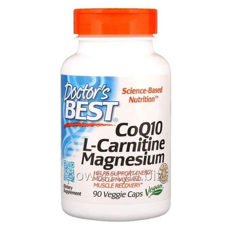 Коэнзим Q10, L-Карнитин и Магний, CoQ10, L-Carnitine, Magnesium, Doctor's Best, 90 капсул