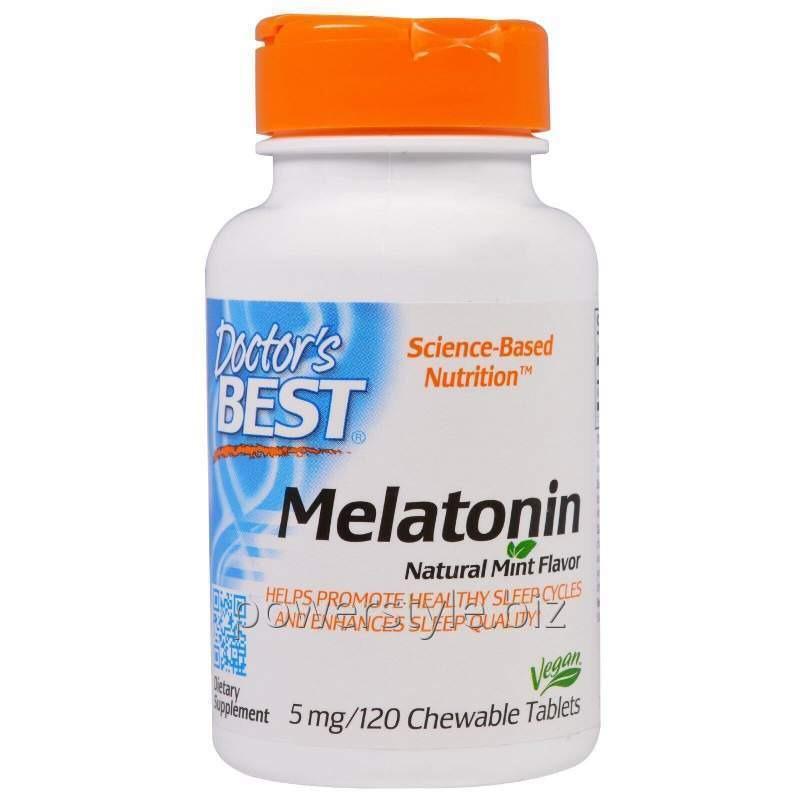 Мелатонин, Doctor's Best, мятный вкус, 5 мг, 120 жевательных таблеток