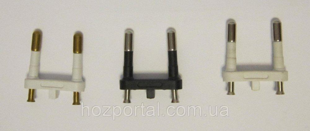 Купить Комплектующая для литых электрических вилок (материал - латунь+покрытие, диаметр ножки - 4 мм, цвет пластика -