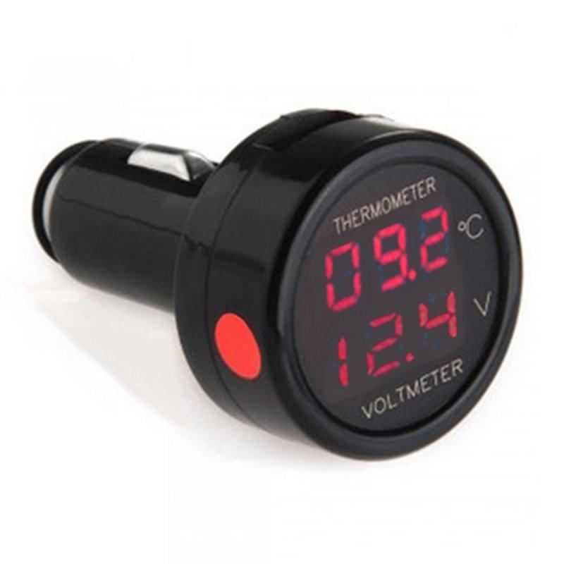Купить Вольтметр + термометр в прикуриватель красный/красный 12 В