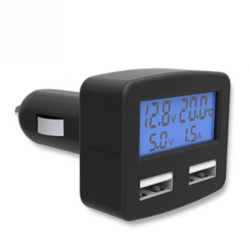 Купить 5 в 1 ЖК Вольтметр,термометр,амперметр,зарядка в прикуриватель синий