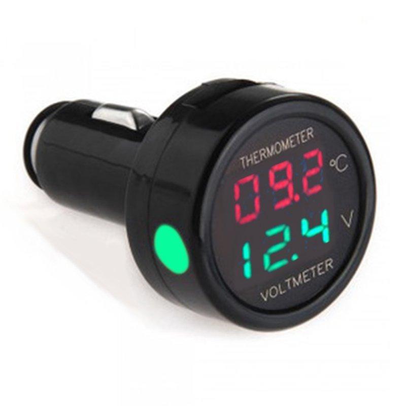 Купить Вольтметр + термометр в прикуриватель красный/зелёный 12 В
