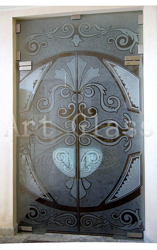 Двери стеклянные 2-х створчатые - изготовление по индивидуальным эскизам