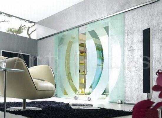 Двери раздвижные стеклянные, декорирование стекла (фьюзинг, гравировка, матирование, пескоструйная обработка)