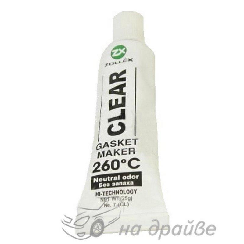 Купить Герметик прокладок силиконовый прозрачный (Сlear) 260° без запаха 25г/5 штук в упаковке 7-(CL) Zollex