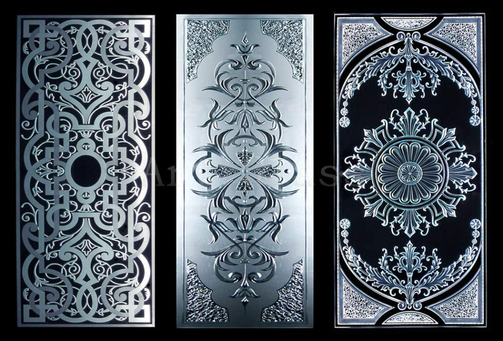 Витражи эксклюзивные с  дизайнерским декором (фацетирование, гравировка, фьюзинг)