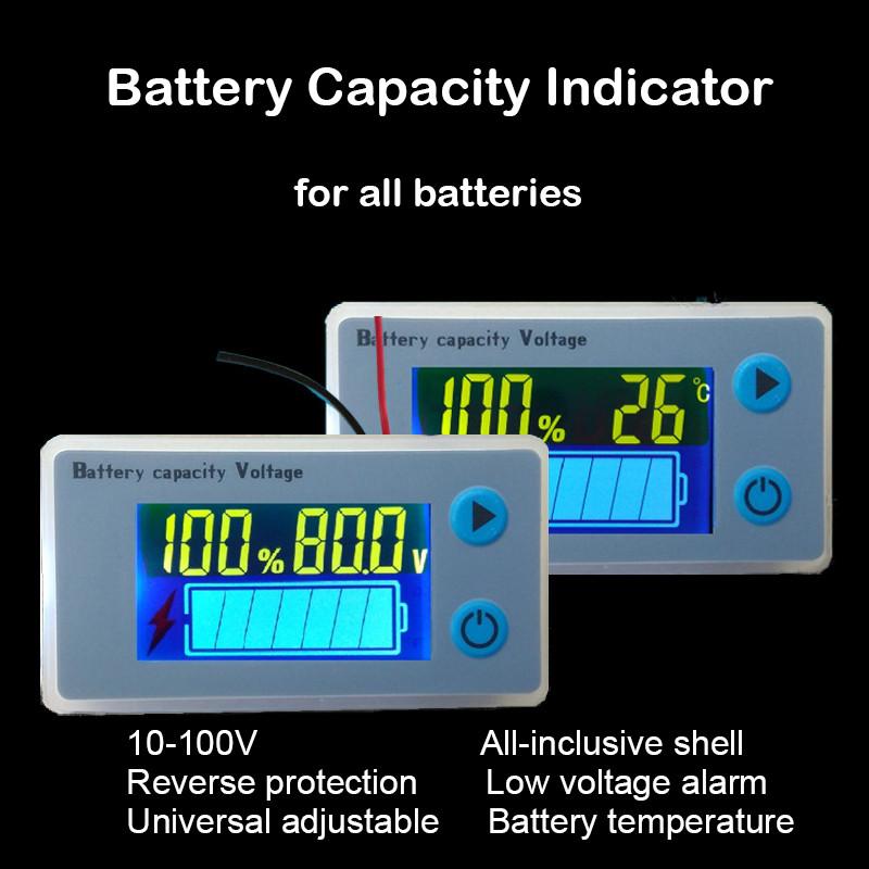 Купить Автомобильный вольтметр+t+емкость АКБ ЖК 10-100В(с програмируемым порогом V)