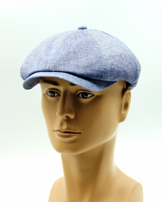 Купить Летняя кепка восьмиклинка голубая.