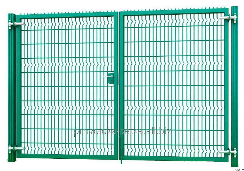 Купить Ворота распашные 1,48х4м, 3Д с замком-ручкой, цинк+полимерное покрытие