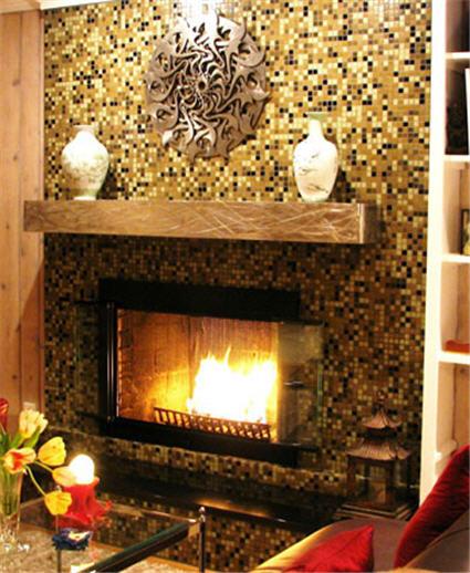 Стеклянная мозаика для камина, для стен, эксклюзивный декор из стекла
