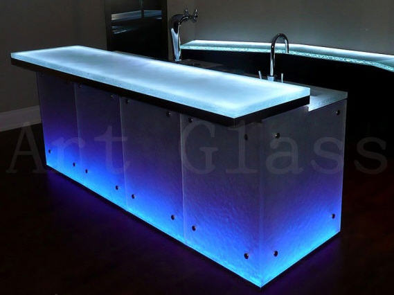 Buy Cabinet furniture from glass under the order: bar counters, kitchens from glass