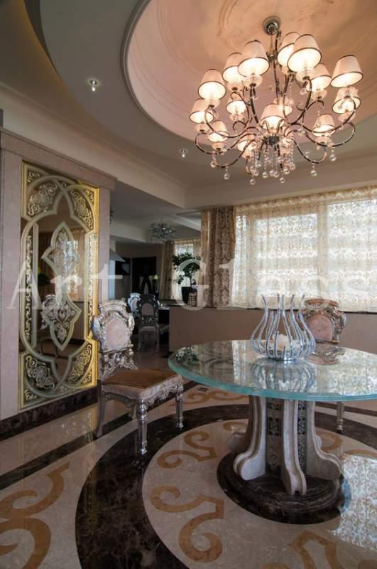 Мебель для гостиной из стекла, интерьер из стекла и камня
