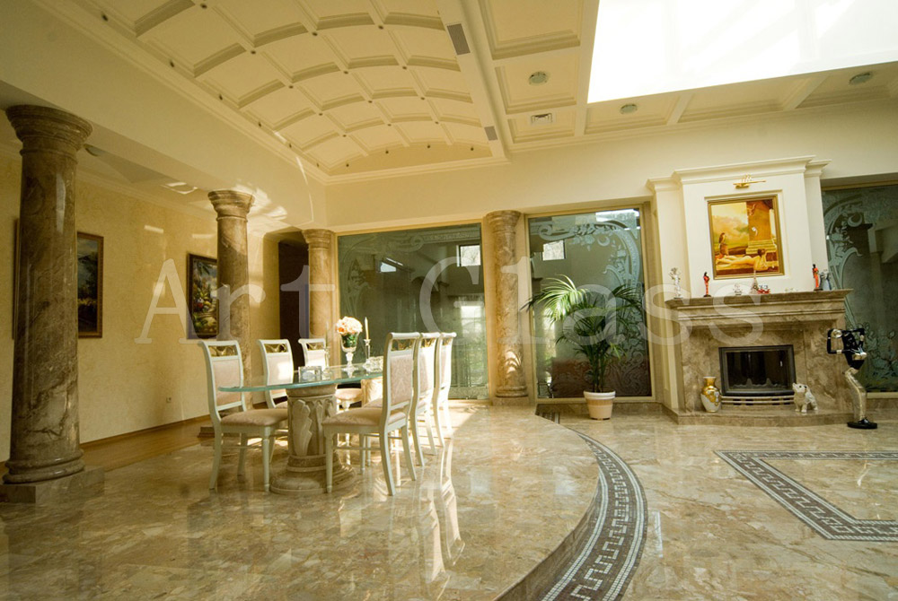 Walls are glass, glass in an interior - original design, an art decor of glass