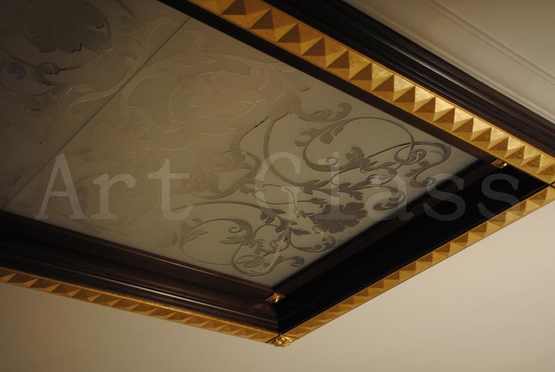 Потолок стеклянный, стеклянные вставки в потолок