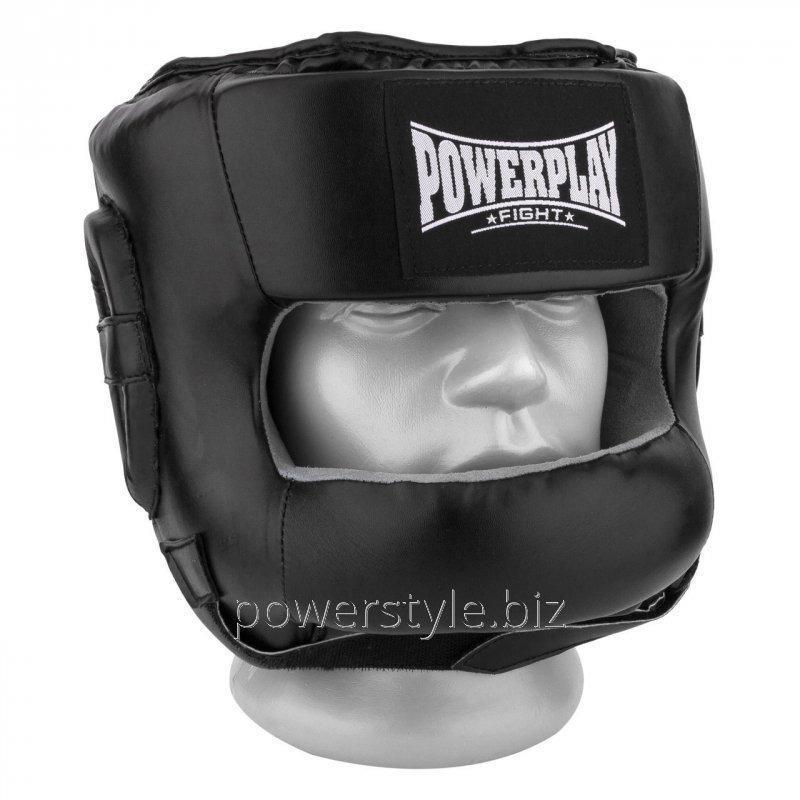 Купить Боксерский шлем тренировочный PowerPlay 3067 з бампером PU + Amara чорний L