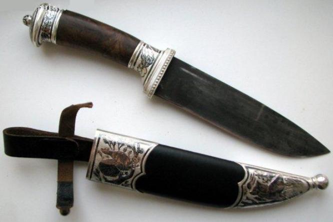 Купить Ножи авторские. Модель 117. Нож охотничий в серебре.