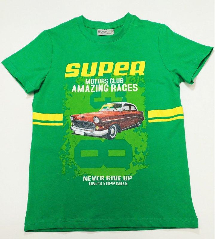 """Купить Футболка для мальчиков ярко- зеленая """"SUPER MOTORS CLUB"""" р 140 р 146 р 164"""