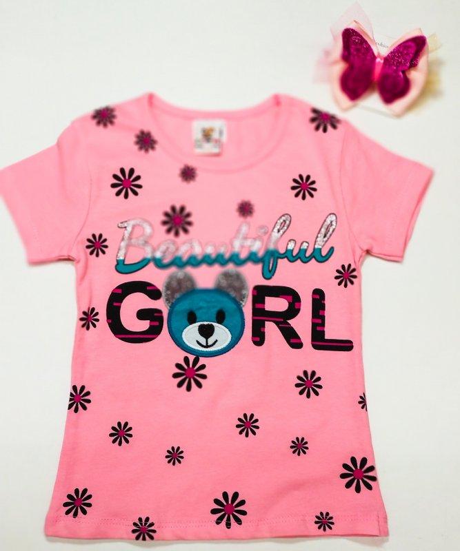 """Купить Футболка темно розовая для девочек ,принт цветы ,медвеженок """"Baterflul gerl"""" р ,92,"""
