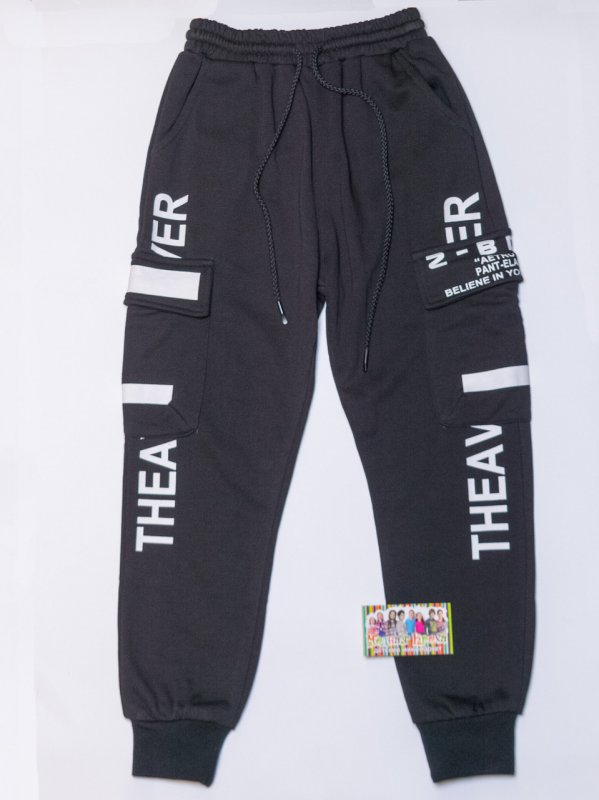 Купить Черные спортивные штаны с манжетом на мальчика рост 110,140