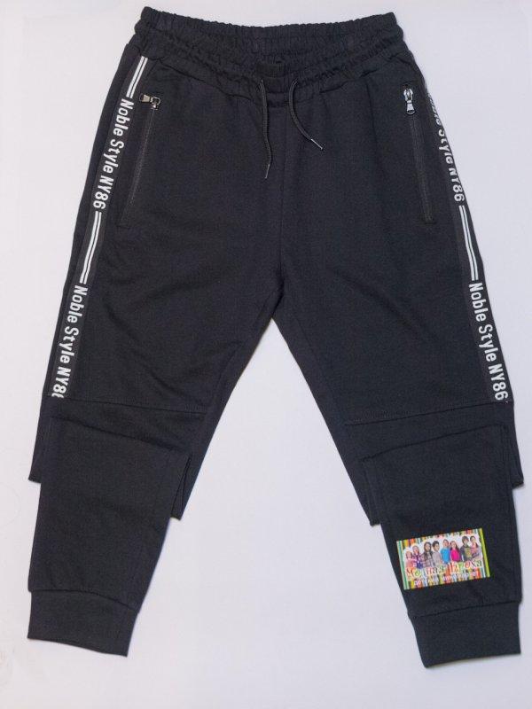Купить Черные спортивные штаны на мальчика с манжетом рост 110,130,140,150