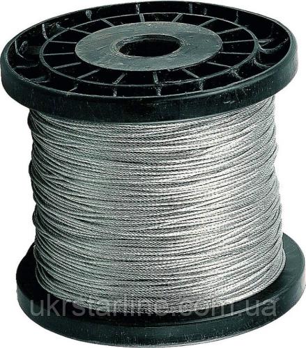 Канат из нержавеющей стали Ф 1,0-16 мм сечение 1х19 DIN 3053