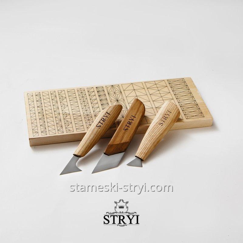 Набор ножей - косяков с тренировочной доской для резьбы по дереву, арт.B03001