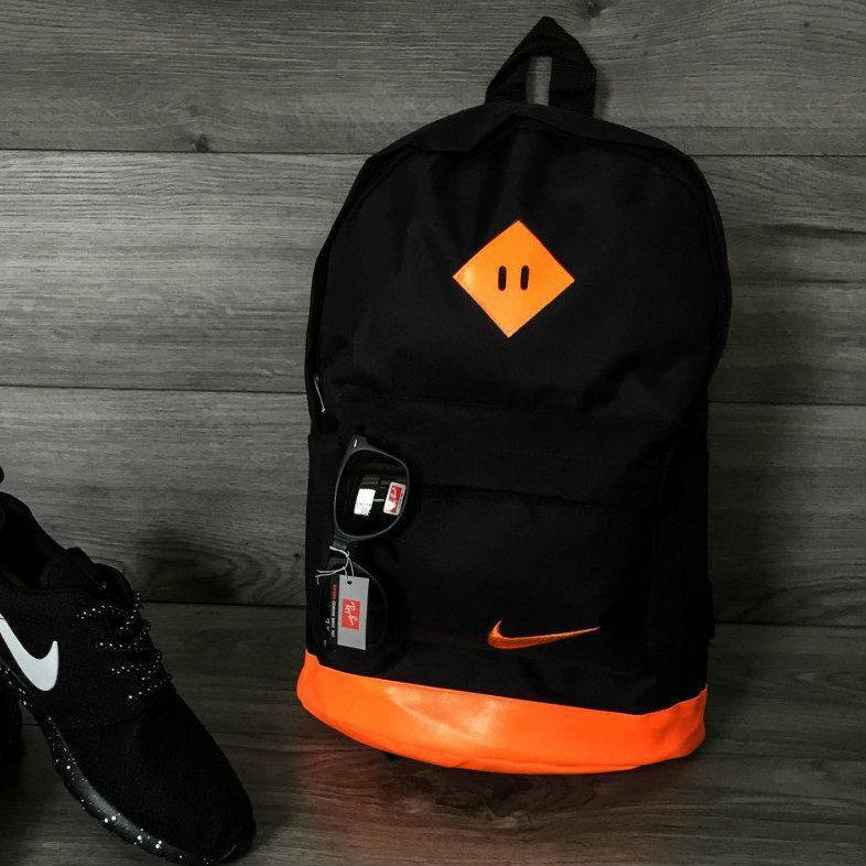 Хитовая расцветка рюкзак портфель NIKE, Найк черный с оранжевыми вставками. Вместительный