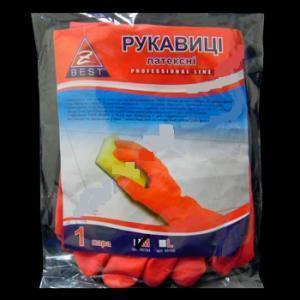 Купить Рукавички Z-BEST Prof. Line-45195 міцні оранжеві латексні господ. р.L-9 пара (100я)
