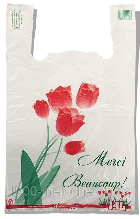 """Пакет-майка """"Тюльпан"""" Золотое Сечение белый (28×45) 250 шт"""