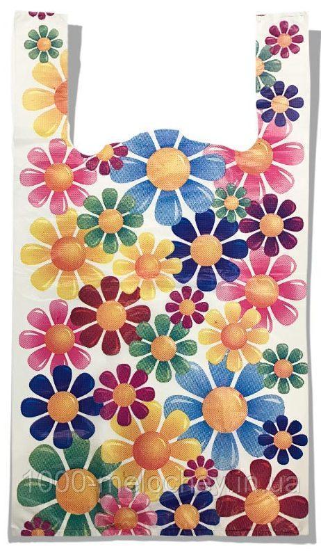 """Пакет-майка """"Цветы"""" (30×54) 100 шт"""